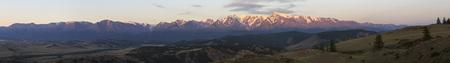 katun: Panorama of Kurai steppe and North Chuya ridge at dawn.