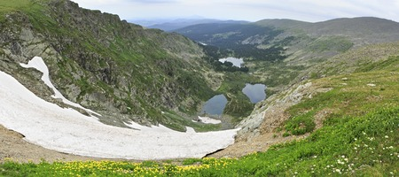 chemal: Panorama Karakol lakes from the top of ridge Iolgo. Republic of Altai.
