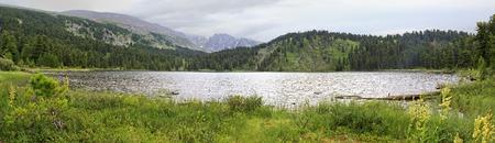 chemal: Panorama fifth Karakol lakes. Republic of Altai.