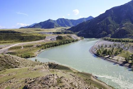 katun: Confluence of the mountain rivers Chuya and Katun.