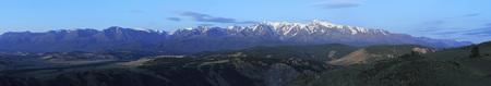 north ridge: Panorama of Kurai steppe and North Chuya ridge at dawn.