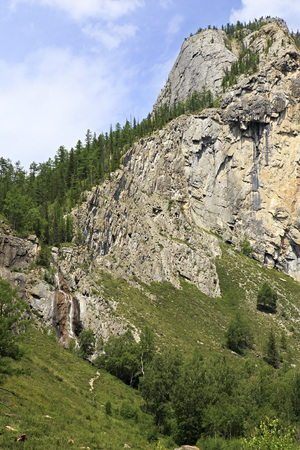 altai mountains: Beautiful Waterfall Shirlak in the Altai Mountains.