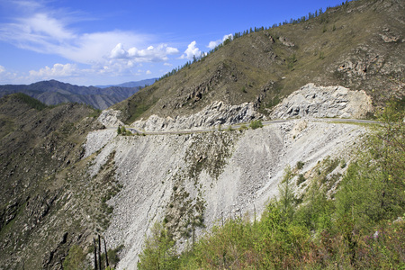 katun: Beautiful view of the Altai Mountains on the pass Chike Taman. Stock Photo