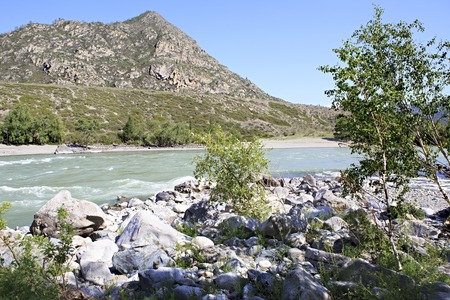 katun: Confluence of the mountain rivers Big Ilgumen and Katun.
