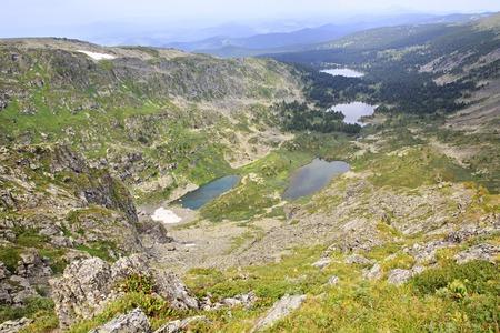 chemal: Karakol lakes from the top of ridge Iolgo. Republic of Altai.