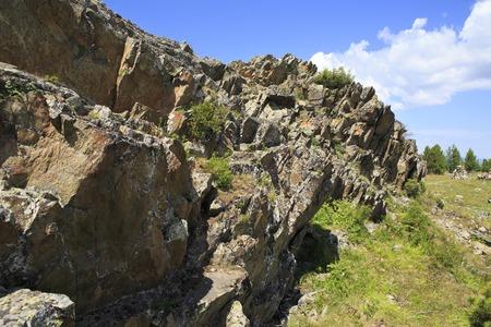 katun: Top Mount Tiyahty of the Altai Mountains. Stock Photo