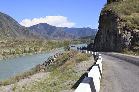 katun: Mountain river Katun along the Chuysky Trakt Stock Photo