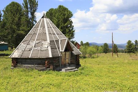 sports complex: Altai Republic, Russia - July 14, 2015: Wooden yurt in the Sports complex Seminsky.