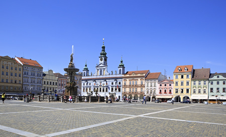 budejovice: Budejovice, Czech Republic - July 3, 2013: Fountain on the square in historic center of Ceske Budejovice.