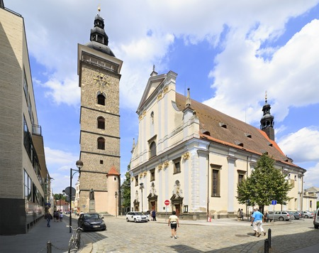 budejovice: Budejovice, Czech Republic - July 3, 2013: Black Tower and St. Nicholas Cathedral in Ceske Budejovice