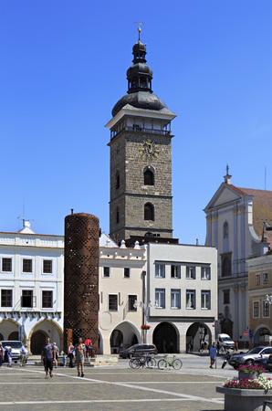 Budejovice, Czech Republic - July 3, 2013: Architecture in the square in historic center of Ceske Budejovice. Editorial