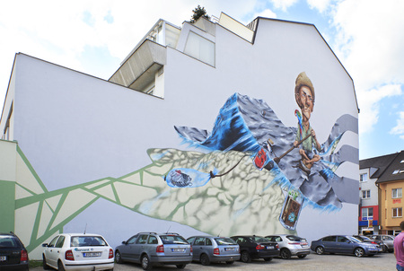 budweis: Benesov, Czech Republic - July 1, 2013: Painted building in the town Benesov