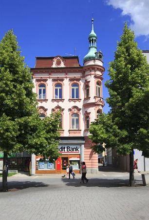 budweis: Benesov, Czech Republic - July 1, 2013: Architecture in the town Benesov
