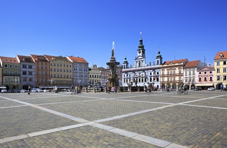 Budejovice, Czech Republic - July 3, 2013: Square in the historic center of Ceske Budejovice. 報道画像