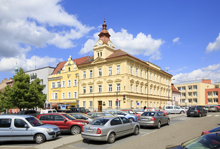 budweis: Benesov, Czech Republic - July 1, 2013: Architecture on the streets of town Benesov
