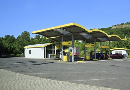 muttrah: Prague, Czech Republic - July 2, 2013: Petrol station in the suburbs Prague. Editorial