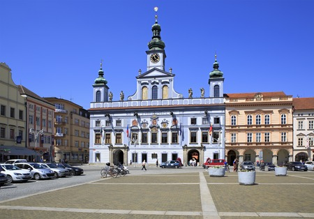 budweis: Budejovice, Czech Republic - July 3, 2013: Architecture in the square in historic center of Ceske Budejovice. Editorial