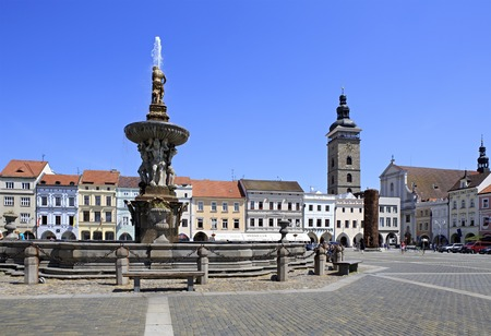 budweis: Budejovice, Czech Republic - July 3, 2013: Fountain on the square in historic center of Ceske Budejovice.