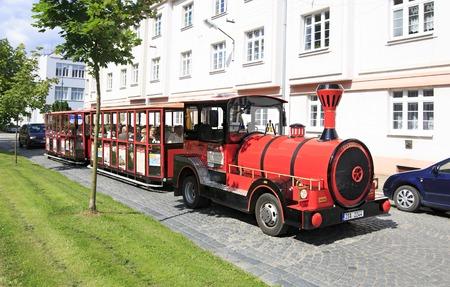 ceske: Benesov, Czech Republic - July 1, 2013: Tourist train in the town of Benesov