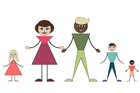 Intermarriage. A young family with three children.