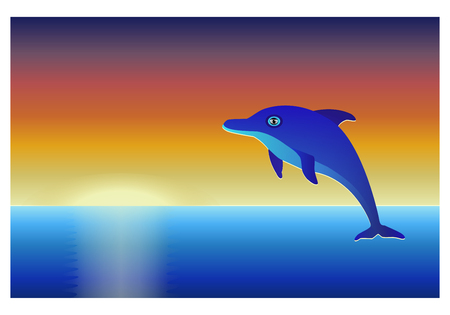 sunset sky: Dolphin over the sea at sunset sky background.