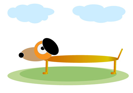 funny pictures: Funny red dog on a green lawn. Illustration