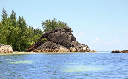 ladigue: Beautiful Huge granite boulders on Curieuse Island in the Indian Ocean.