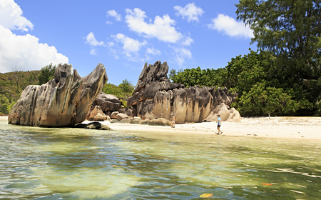 ladigue: Beautiful Huge granite boulders on beach at Curieuse Island in the Indian Ocean. Editorial