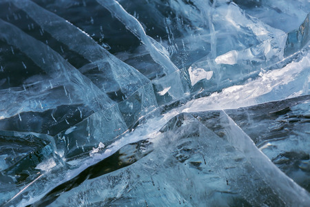 cracks in ice: Cracks in transparent ice. Beautiful winter landscape in the Lake Baikal.