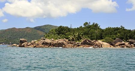 argent: Beautiful Huge granite boulders on Curieuse Island in the Indian Ocean.