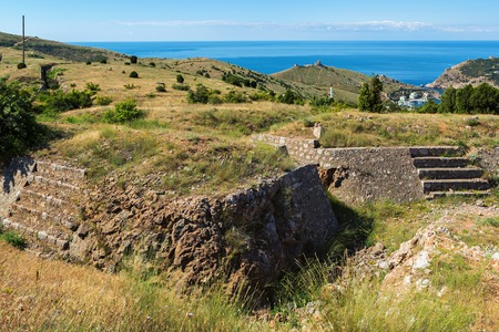 nineteenth: Redoubts of the nineteenth century. Balaklava in Crimea. Stock Photo