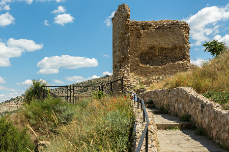 Genoese fortress Cembalo built beginning in 1357. Balaklava in Crimea. Stock Photo