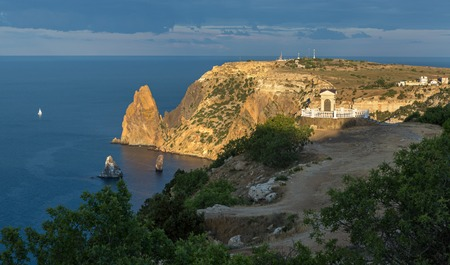 Beautiful Cape Fiolent. Heraclean peninsula on the southwest coast of Crimea. Balaclava district of Sevastopol. Stock Photo