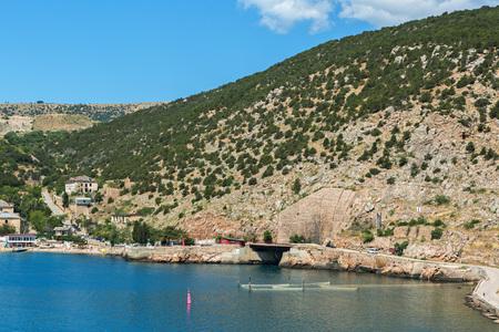 Entrance to the former submarine Soviet navy base. Balaklava bay.