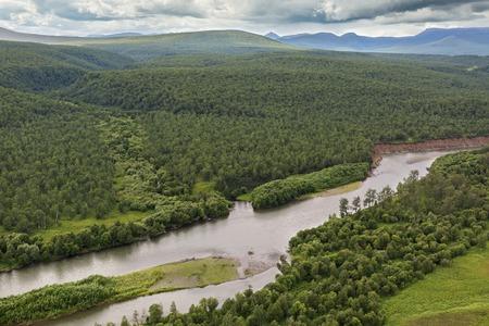 hot temper: River Zhupanova. Kronotsky Nature Reserve on Kamchatka Peninsula. View from helicopter.