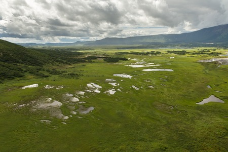 beautyful: Uzon Caldera in Kronotsky Nature Reserve on Kamchatka Peninsula. View from helicopter. Stock Photo