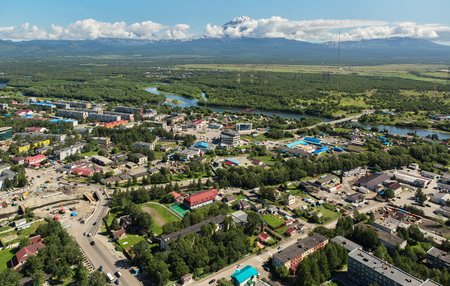 Yelizovo town on Kamchatka Peninsula. View from helicopter. Stock Photo