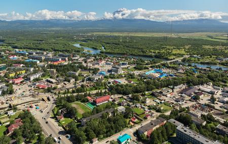 kamchatka: Yelizovo town on Kamchatka Peninsula. View from helicopter. Stock Photo