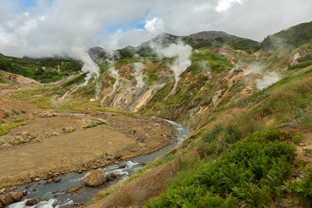 Geysernaya River in Valley of Geysers. Kronotsky Nature Reserve on Kamchatka Peninsula.