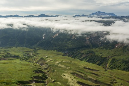 Beautiful landscape in South Kamchatka Nature Park. View from the helicopter.
