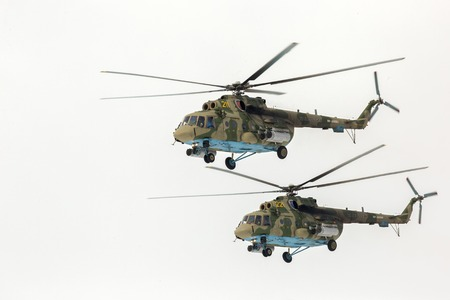 Omsk, Russia - March 19, 2016: Mi-8 helicopter participant Airshow.