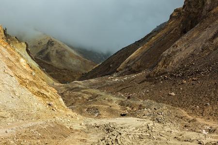 kamchatka: Climbing to the active volcano Mutnovsky on Kamchatka.