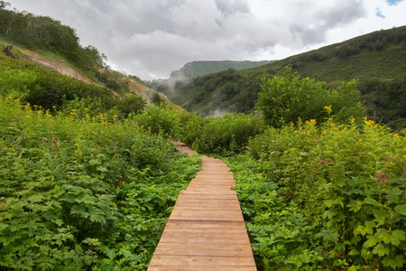 Wood trail in Valley of Geysers. Kronotsky Nature Reserve on Kamchatka Peninsula. Stock Photo