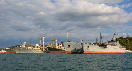 Sevastopol, Russia - June 09, 2016: Black Sea Fleet warships are on the quay of the Sevastopol Bay. Editorial