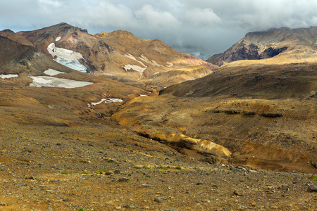 Glaciers on the slopes of the active volcano Mutnovsky.