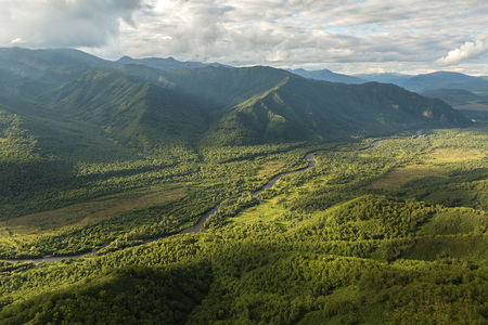 hot temper: Kronotsky Nature Reserve on Kamchatka Peninsula. View from the helicopter.
