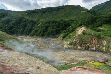 alluvial: Alluvial plain of drying Geysernoye Lake in Valley of Geysers. Kronotsky Nature Reserve on Kamchatka Peninsula.