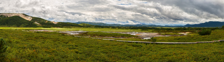 hot temper: Panorama of Uzon Caldera. Kronotsky Nature Reserve on Kamchatka Peninsula.