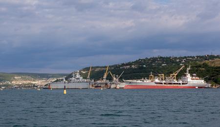 Sevastopol, Russia - June 09, 2016: Big sea tanker Ivan Bubnov in the Bay Black Sea. Editorial