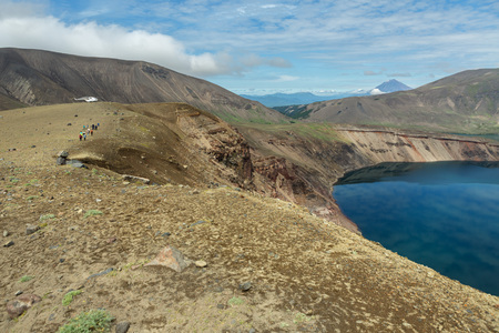 erupting: Lake in the Caldera volcano Ksudach. South Kamchatka Nature Park. Stock Photo